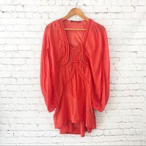 L.A.M.B. Coral orange sheer silk blouse